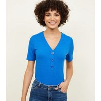 Bright Blue Ribbed Button T-Shirt New Look