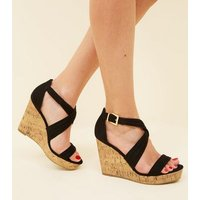 Wide Fit Black Suedette Cross Strap Wedges New Look