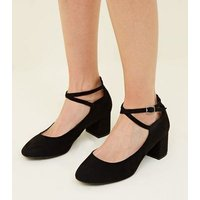 Wide Fit Black Cross Strap Courts New Look