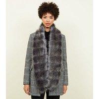 Dark Grey Pelted Faux Fur Stole New Look