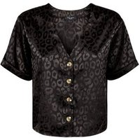 Petite Black Leopard Print Jacquard Top New Look