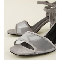 Wide Fit Grey Suedette Mesh Strap Block Heels New Look