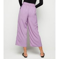 Lilac Tie Waist Cropped Trousers New Look