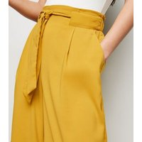 Mustard Tie Waist Crop Trousers New Look