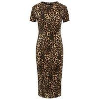 Cameo Rose Brown Leopard Print Plisse Midi Dress New Look