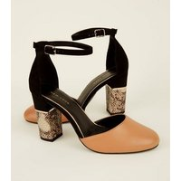 Brown Suedette Faux Snakeskin Block Heel Sandals New Look