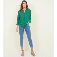 Green Leopard Print Long Sleeve Shirt New Look