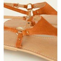 Wide Fit Orange Suede Flat Sandals New Look