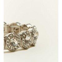 Silver Circle Gem Embellished Stretch Bracelet New Look