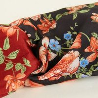 Rust Contrast Floral Satin Twist Front Headband New Look