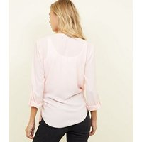 Pale Pink Wrap Side Tie Long Sleeve Shirt New Look