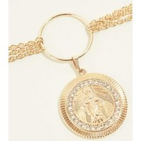 RE:BORN Gold Coin Ring Choker Necklace New Look