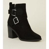Wide Fit Black Suedette Buckle Strap Western Boots New Look