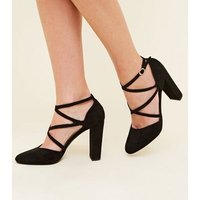 Black Suedette Cross-Over Strappy Block Heels New Look