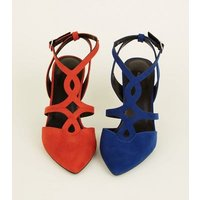 Bright Blue Soft Suedette Cut-Out Front Stilettos New Look