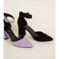 Black Suedette Buckle Ankle Strap Block Heels New Look
