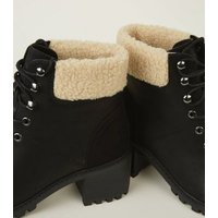 Black Faux Shearling Cuff Hiker Boots New Look
