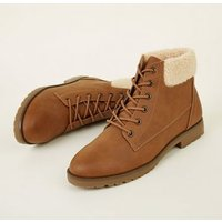 Tan Teddy Cuff Flat Lace Up Boots New Look