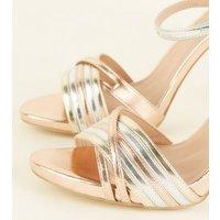 Wide Fit Multicoloured Metallic Strappy Stiletto Heels New Look