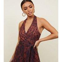Brown Snake Print Halterneck Jumpsuit New Look