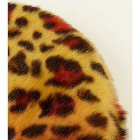 Yellow Leopard Print Faux Fur Cross Body Bag New Look