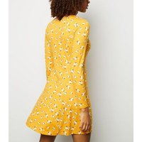 Yellow Floral Print Soft Touch Button Through Dress New Look
