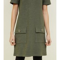 Khaki-Boucl-Pocket-Front-Tunic-Dress-New-Look