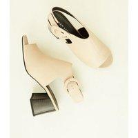 Cream Peep Toe Flare Heel Slingbacks New Look