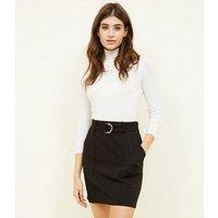 Black Crepe D-Ring Mini Skirt New Look