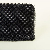 Black Beaded Foldover Clutch Bag New Look