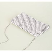Silver Beaded Foldover Clutch Bag New Look