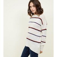 off white stripe oversized jumper new look