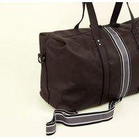 Dark Brown Leather-Look Stripe Tape Holdall New Look