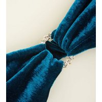 Teal Velvet Diamante Ring Front Headband New Look