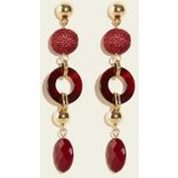 Dark Red Raffia Bead and Resin Ring Drop Earrings New Look