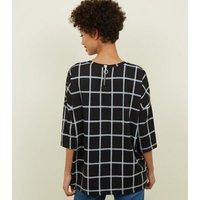 Black Grid Check Print Zip Back Top New Look