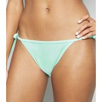 Mint Green Tie Side Bikini Bottoms New Look
