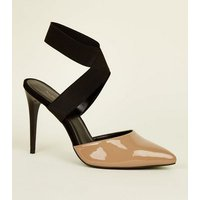 Black and Nude Patent Elastic Strap Heels New Look