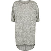 Apricot Grey Glitter Knit Zip Shoulder Tunic Top New Look