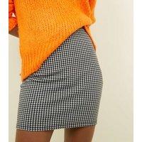 Tall Black Houndstooth Mini Tube Skirt New Look