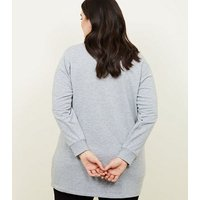 Curves Grey One Of A Kind Longline Sweatshirt New Look
