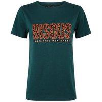 Dark Green Bisous Leopard Print T-Shirt New Look