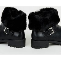 Girls Black Teddy Cuff Ankle Boots New Look