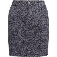 Curves Light Grey Leopard Print Denim Skirt New Look