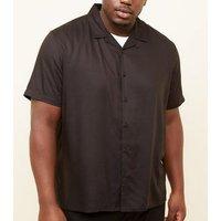 Plus Size Black Revere Collar Shirt New Look