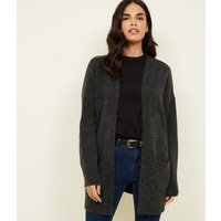 Dark Grey Pocket Front Longline Cardigan New Look