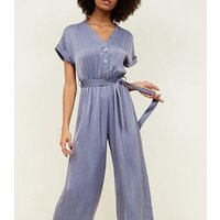 Grey Satin Button Front Cropped Jumpsuit New Look