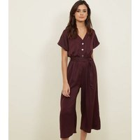 Dark Purple Satin Button Front Cropped Jumpsuit New Look