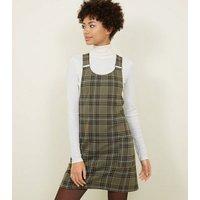 Khaki Check Buckle Strap Pinafore Dress New Look