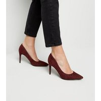 Burgundy Animal Print Pointed Court Shoes New Look